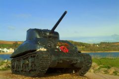 Torcross, American Sherman tank acts as a war memorial at Torcross