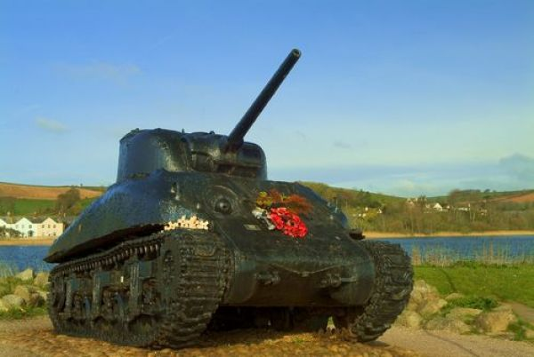 Torcross photo, American Sherman tank acts as a war memorial at Torcross