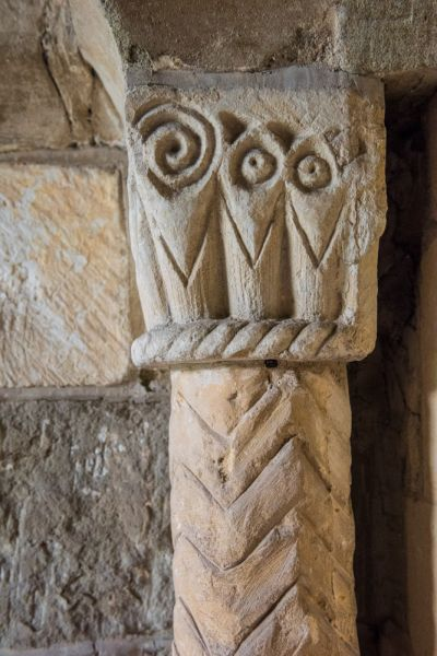 Tredington, St John the Baptist Church photo, Saxon carved pillar beside the south door