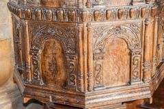 Carved panelling on the pulpit