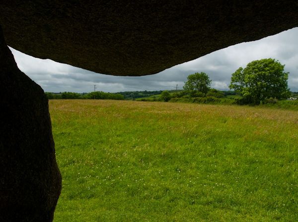 Trethevy Quoit photo, View from the burial chamber