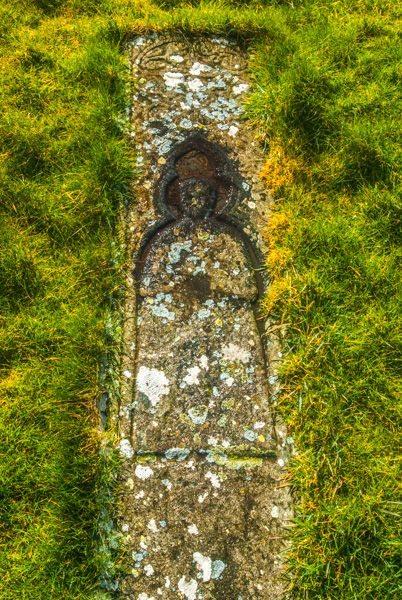 Trumpan Church photo, Late medieval grave slab of a priest