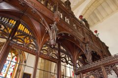 Wimborne St Giles Church, Detail of the rood screen carving
