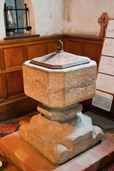Tywyn, St Cadfan's Church photo, Norman font