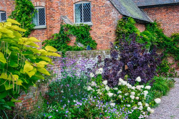 Upton Cressett Hall photo, Colourful borders outside the Hall