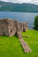Urquhart Castle, Ruined wall with Loch Ness beyond
