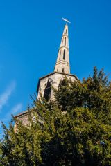 The spire from the churchyard