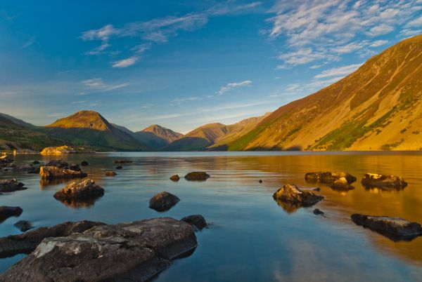 Wast Water lake photo, The sun sets over Wast Water
