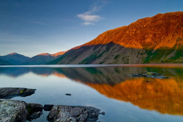 Wast Water lake photo, Sunset over the lake