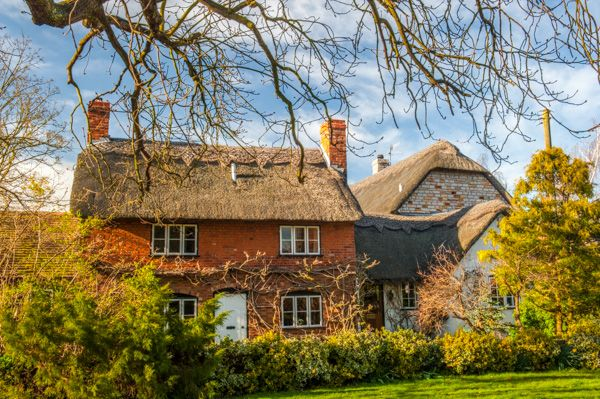 Welford on Avon photo, Thatched cottages, Church Lane