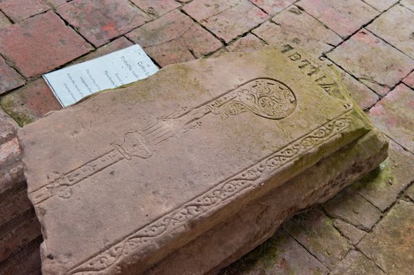 Welwick, St Mary's Church photo, 14th century coffin lid