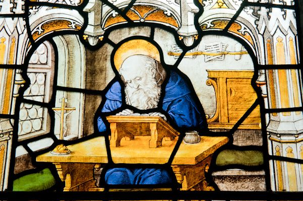 Wetwang, St Nicholas Church photo, Venerable Bede stained glass