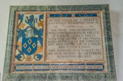 Whatcote, St Peter's Church, William Miller memorial tablet, 1909