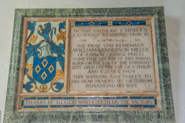 Whatcote, St Peter's Church photo, William Miller memorial tablet, 1909