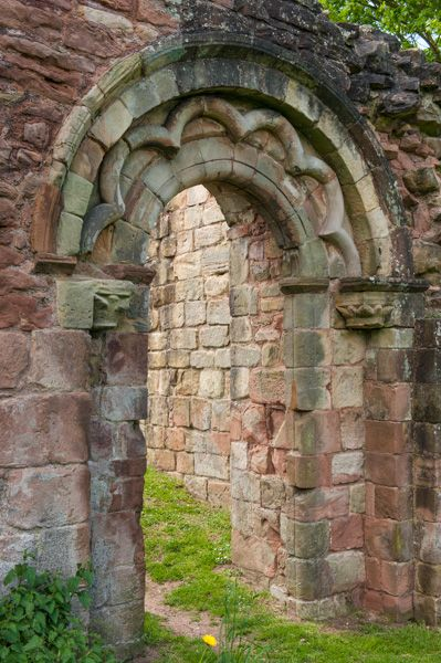 White Ladies Priory photo, Romanesque doorway and carvings