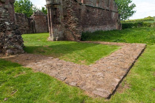 White Ladies Priory photo, Foundations of the cloister entrance