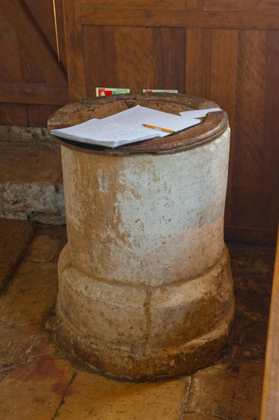 Widford, St Oswald's Church photo, Norman font