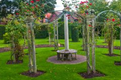 Wightwick Manor, A rose arbor in the garden
