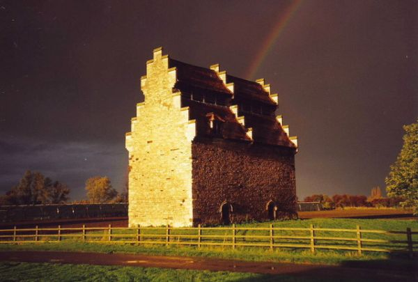 Willington Dovecote and Stables photo, A rainbow over Willington Dovecote (c) Nick MacNeill