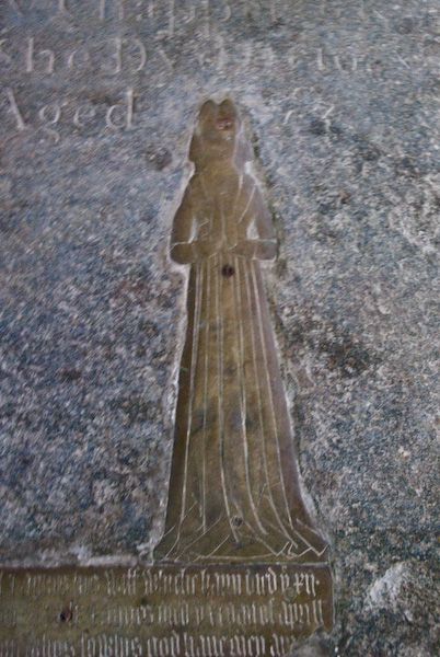 Wing, All Saints photo, Medieval brass - woman