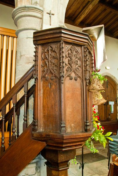 Wootton Wawen, St Peter's Church photo, 15th century pulpit