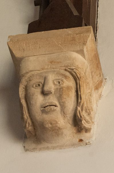 Yanworth, St Michael's Church photo, Medieval corbel head of a woman
