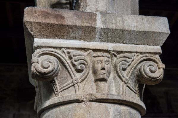 Youlgreave, All Saints Church (Youlgrave) photo, Ornate column capital in the nave