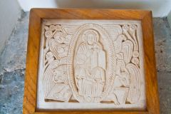 St Agilbert replica carving