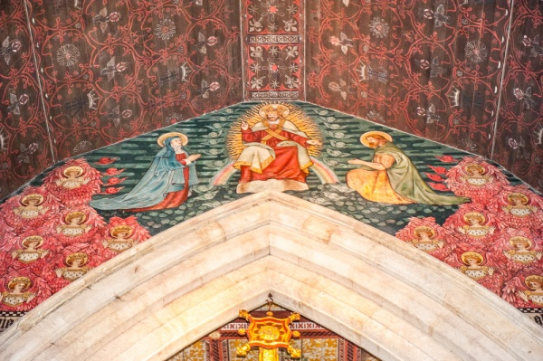 The ornately decorated chancel arch, All Saints Church, Cambridge