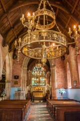 The chapel nave and chandelier
