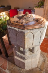 13th century Purbeck marble font