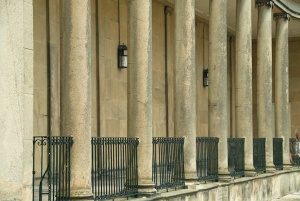 Classical columns on the imposing portico