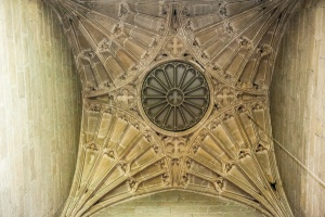Perpendicular fan vaulting under the tower