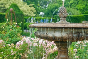 A formal garden fountain