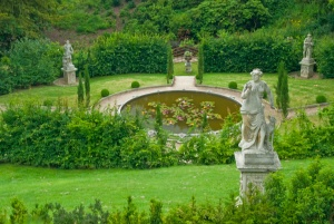 Formal garden below the house