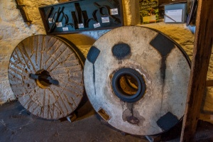 A pair of used grinding stones