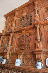 A richly carved downstairs Jacobean fireplace