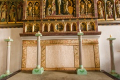GE Street reredos and Jacobean camdlesticks