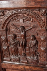 Flemish carved panel on the pulpit