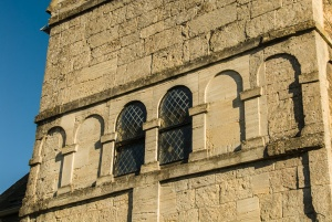 Restored blind arcading in the tower