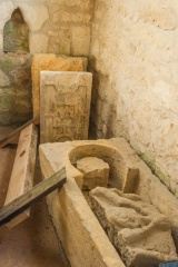Medieval stone coffin, south transept