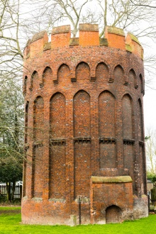 The unusual brick 'hawk muse' tower
