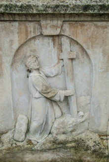 The carved base of John Bunyan's memorial