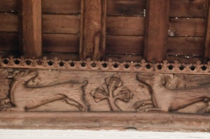 Carved beasts in the chancel
