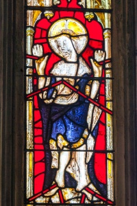 15th century stained glass window depicting Christ