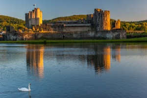 Caerphilly Castle at sunset