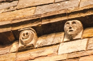 Grotesque carvings on the bell tower