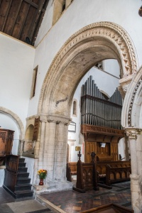The Norman chancel arch in St Lawrence church