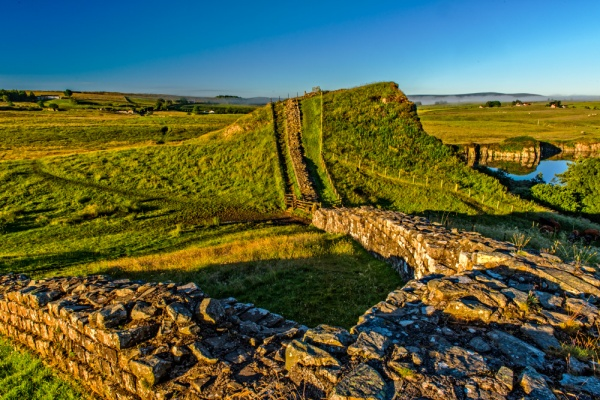 Dawn at Cawfields milecastle and Hadrian's Wall