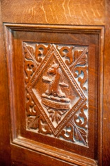 Carved panel in the chancel